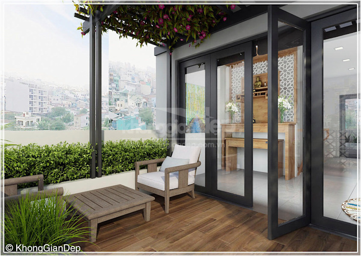 Terrazas de estilo  de Công ty cổ phần đầu tư xây dựng Không Gian Đẹp , Moderno