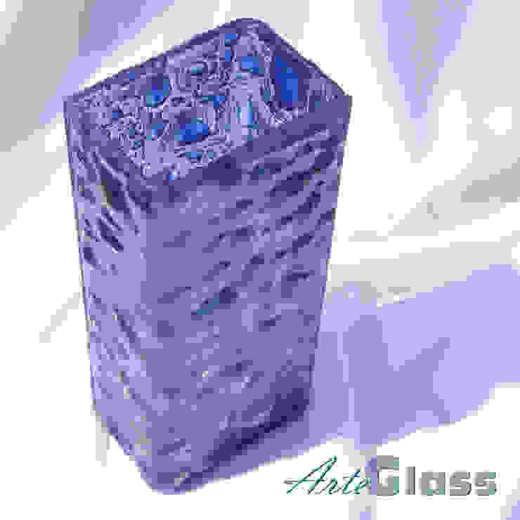 Vase dark blue 30 cm square: modern  by ArteGlass, Modern Glass