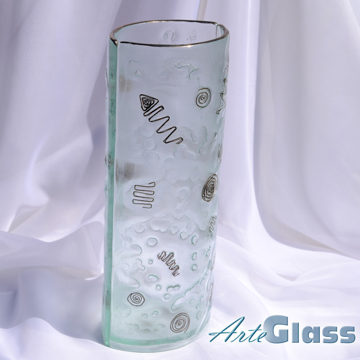 Vase clear with metal and oldplatinum 30 cm rounded: modern  by ArteGlass, Modern Glass
