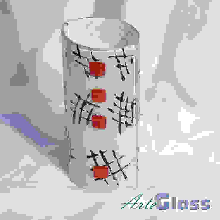 Vase white black 20 cm rounded: modern  by ArteGlass, Modern Glass