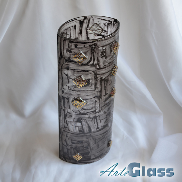 Vase brown with gold 30 cm rounded: modern  by ArteGlass, Modern Glass