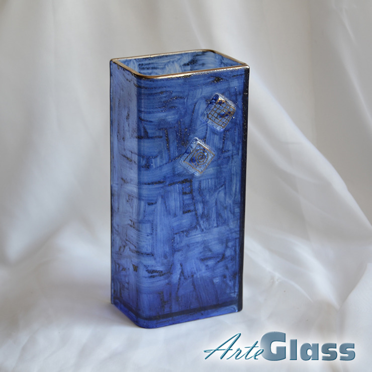 Vase dark blue with oldplatinum 20 cm square: modern  by ArteGlass, Modern Glass