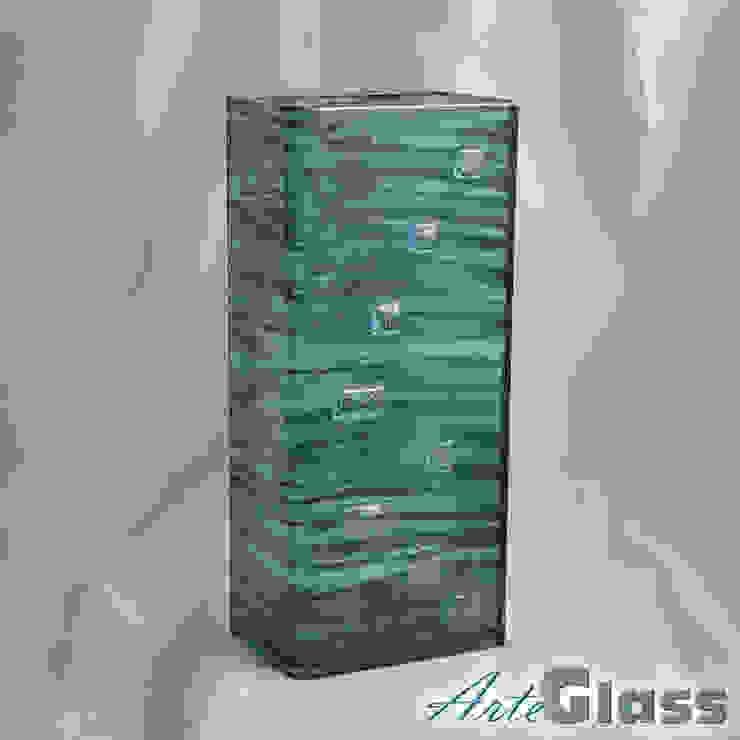 Vase green with oldplatinum 30 cm square: modern  by ArteGlass, Modern Glass