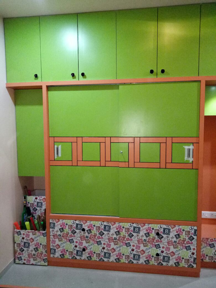 AOM Interior Modern style bedroom Plywood Green