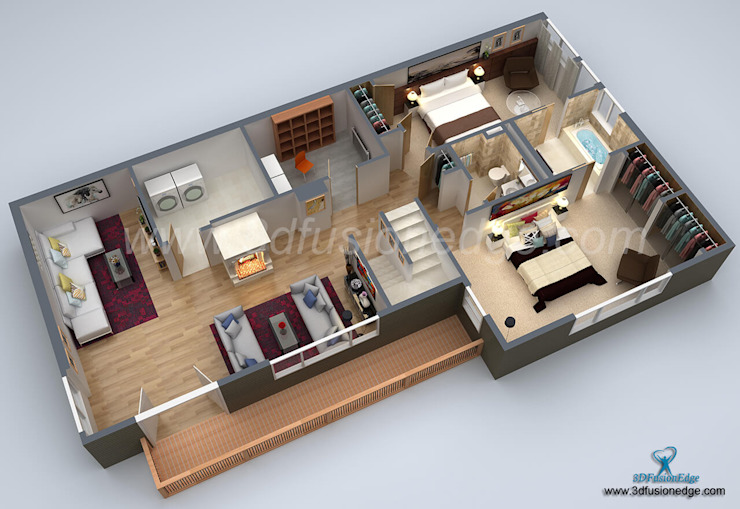 Architectural 3D Floor Plan Services Oleh 3DFUSIONEDGE