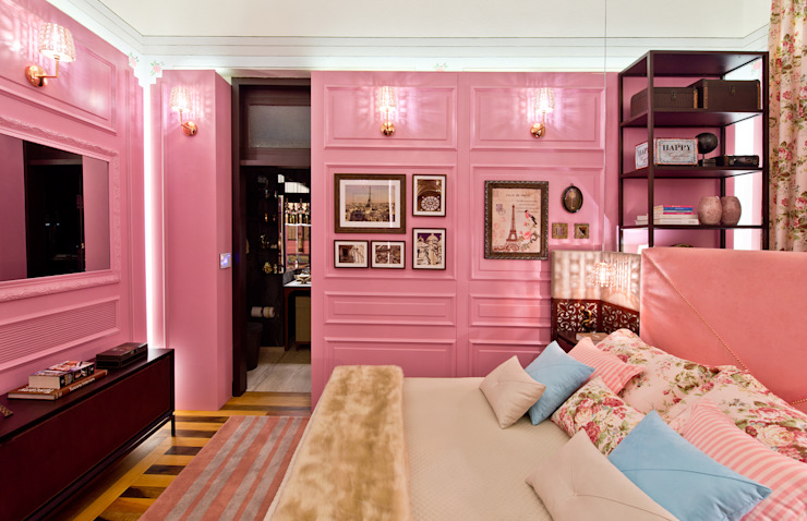 studio d'design by' laura gransotto Classic style bedroom Wood Pink
