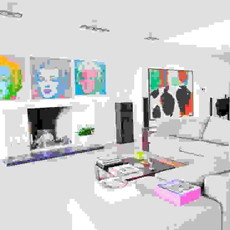 openhaard Archstudio Architecten | Villa's en interieur Minimalistische woonkamers Wit