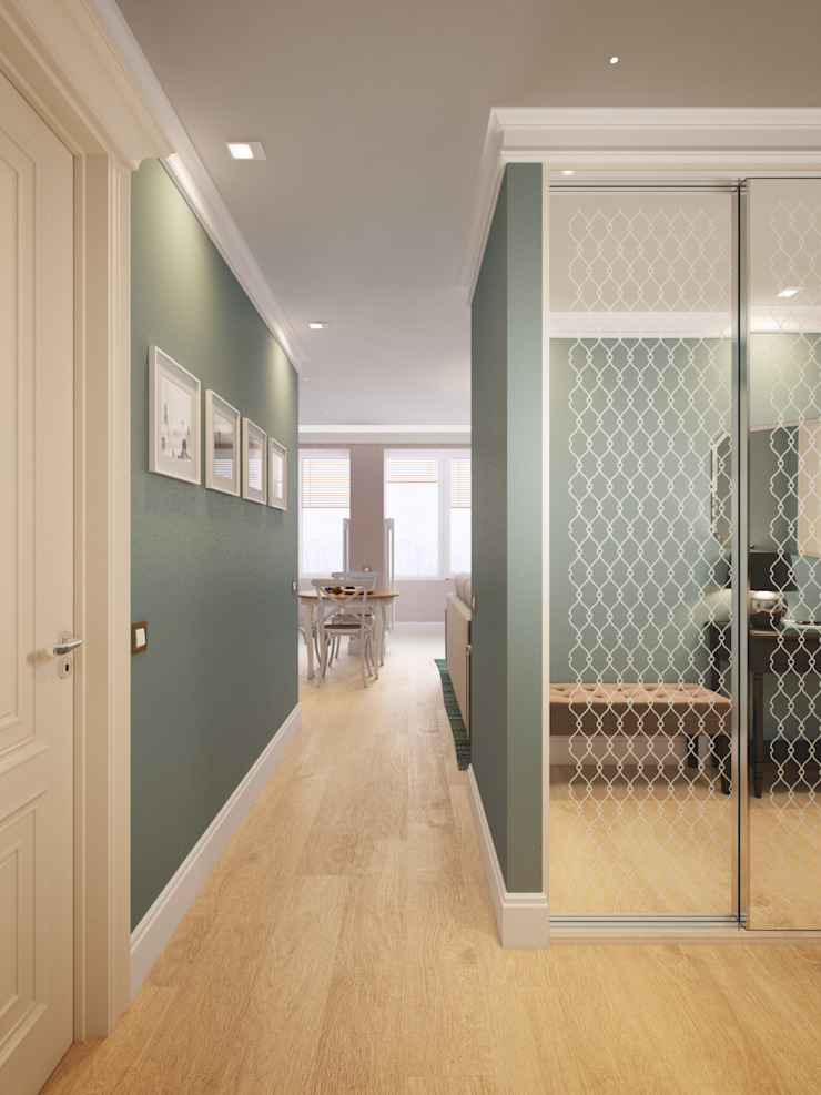 Small traditional apartment EVGENY BELYAEV DESIGN Classic style corridor, hallway and stairs