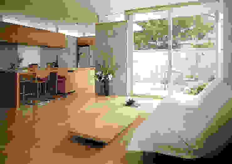 LDKとアウトドアダイニング 根岸達己建築室 モダンデザインの リビング コンクリート 灰色