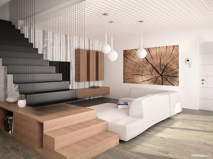Modern living room by Marlegno Modern لکڑی Wood effect