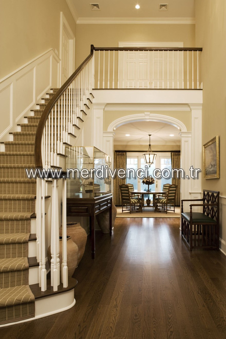 Classic style corridor, hallway and stairs by Merdivenci Classic Wood Wood effect