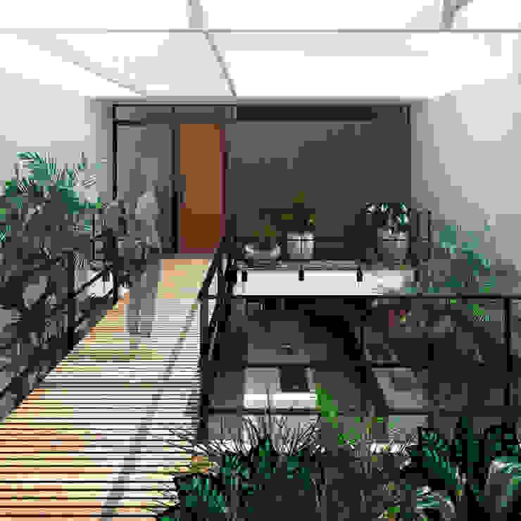 Passarela sobre o jardim Corredores, halls e escadas modernos por ODVO Arquitetura e Urbanismo Moderno