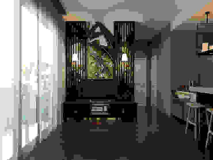 Masteri Thao Dien Apt. Phòng khách phong cách nhiệt đới bởi BROS.studio Nhiệt đới
