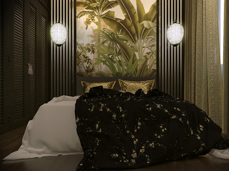 Masteri Thao Dien Apt. Phòng ngủ phong cách nhiệt đới bởi BROS.studio Nhiệt đới