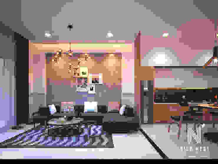 Nhà 2 tầng của gia đình giao viên tại Cần Thơ: hiện đại  by Công Ty TNHH tư vấn thiết kế kiến trúc NiceNest, Hiện đại