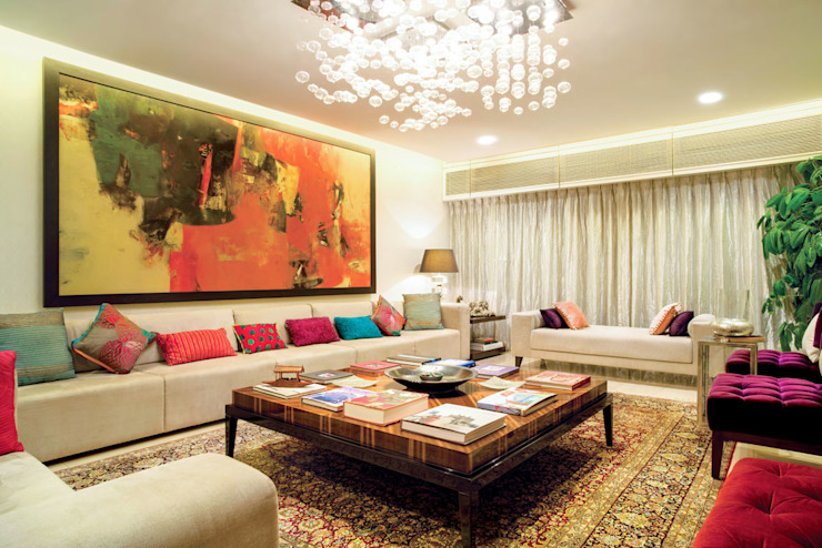 A spacious Living Room Bric Design Group Asian style living room