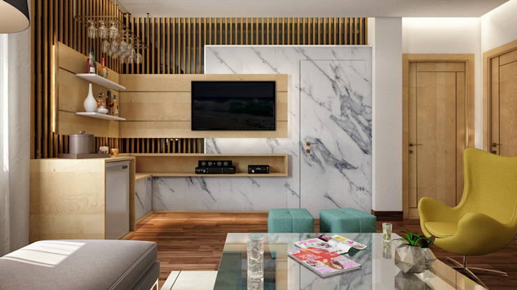 Private Villa—Royal Maxim Modern living room by RDW Architects Modern