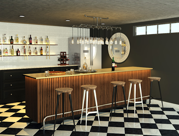 Bar design by AT The Studio Modern Marble