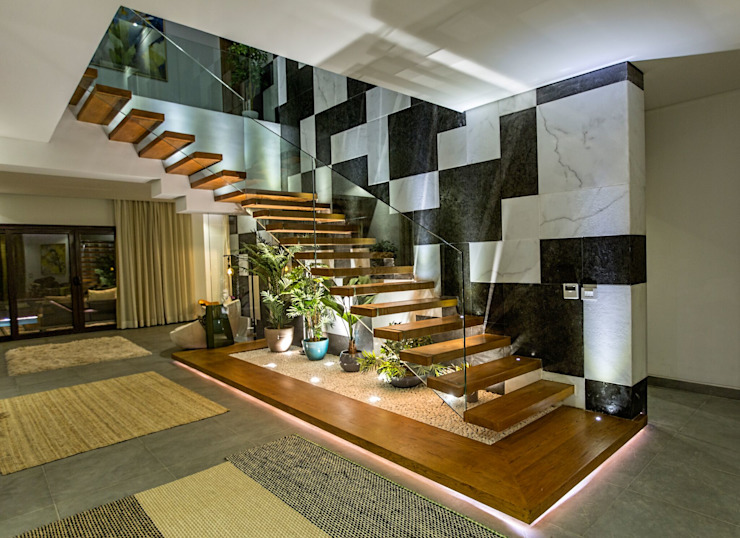 Marassi Villa Eclectic style corridor, hallway & stairs by Grid Fine Finishes Eclectic