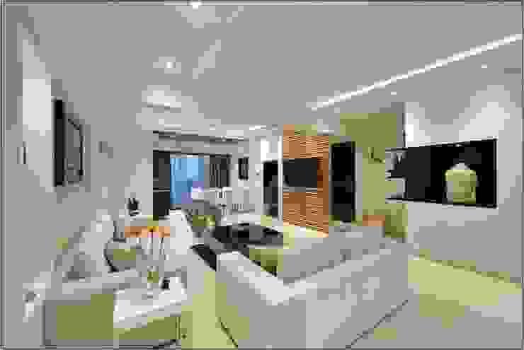 Living room- Residence at DLF Phase IV, Gurugram homify Modern living room White