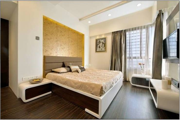Guest room- Residence at DLF Phase IV, Gurugram homify Modern style bedroom
