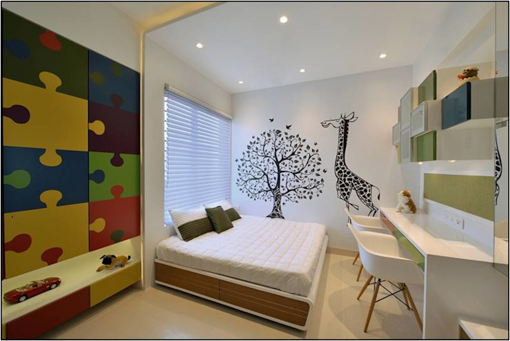 Kids bedroom- Residence at DLF Phase IV, Gurugram Modern Kid's Room by homify Modern