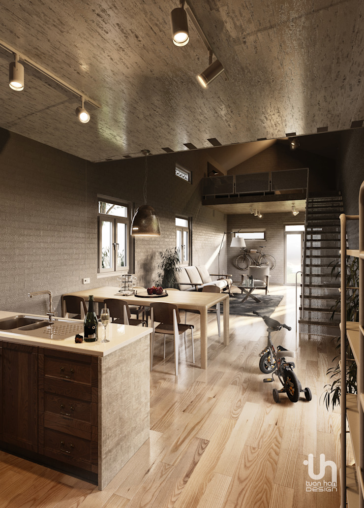 Bao Loc House: công nghiệp  by Tuan Han Design Studio, Công nghiệp