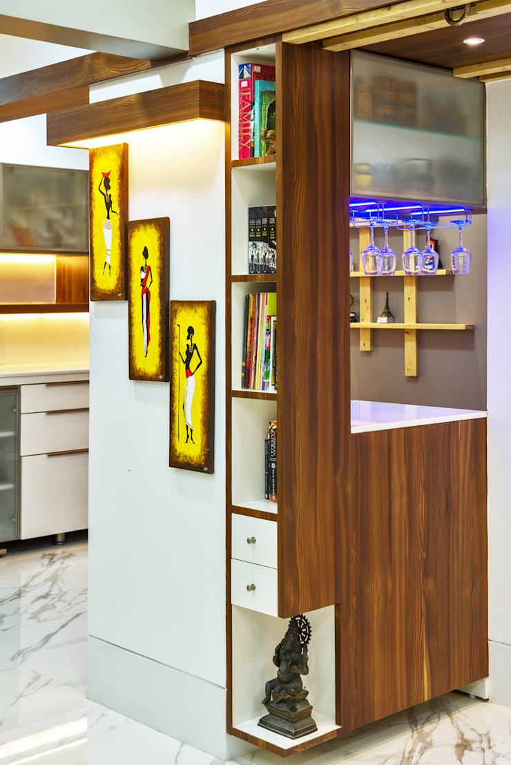 Library and bar unit Minimalist living room by The inside stories - by Minal Minimalist
