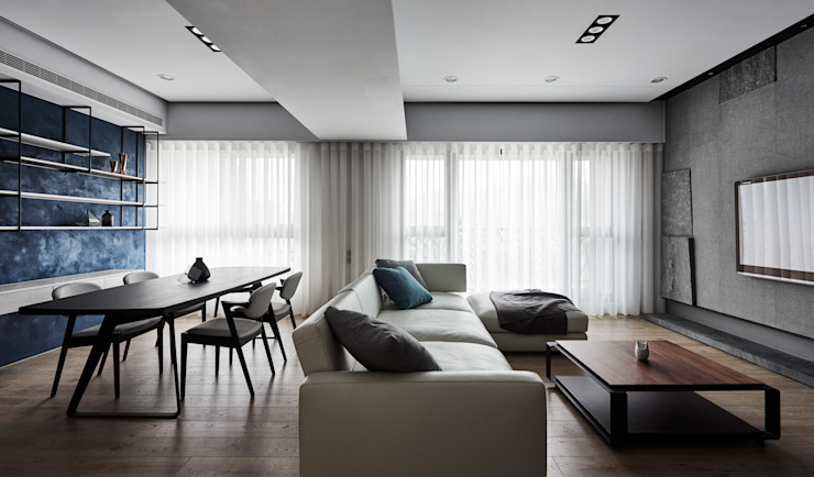 穿透空間 现代客厅設計點子、靈感 & 圖片 根據 思維空間設計 現代風