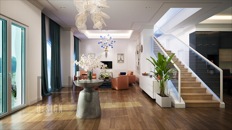 không gian sảnh, tiếp khách Hành lang, sảnh & cầu thang phong cách châu Á bởi DCOR Châu Á