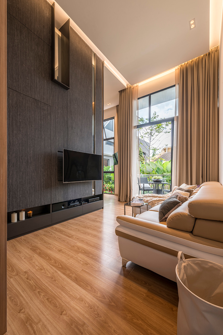 Design & Build: Condominium @ Eunos (Modern Scandinavian) Modern living room by erstudio Pte Ltd Modern