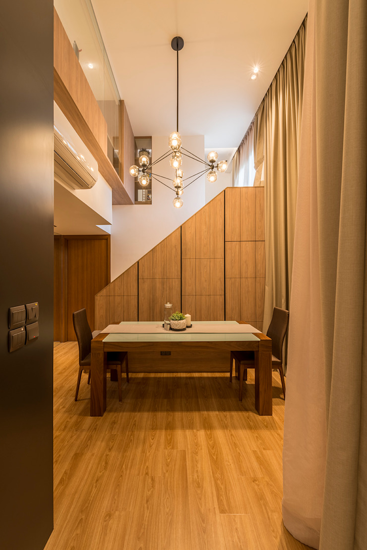 Design & Build: Condominium @ Eunos (Modern Scandinavian) Modern dining room by erstudio Pte Ltd Modern