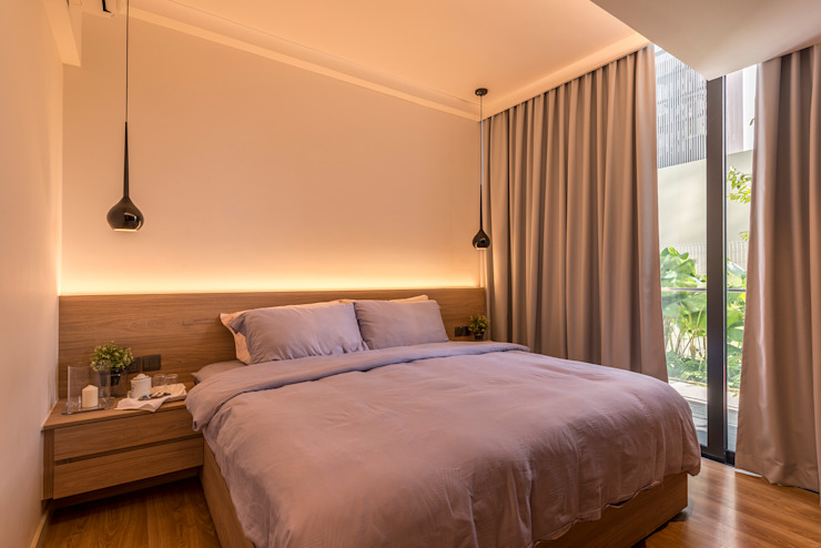 Design & Build: Condominium @ Eunos (Modern Scandinavian) Modern style bedroom by erstudio Pte Ltd Modern
