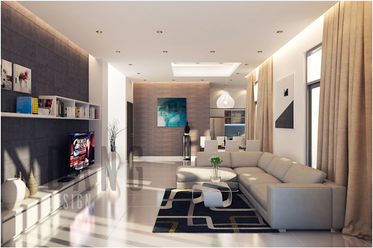 phòng khách Phòng khách phong cách châu Á bởi DCOR Châu Á
