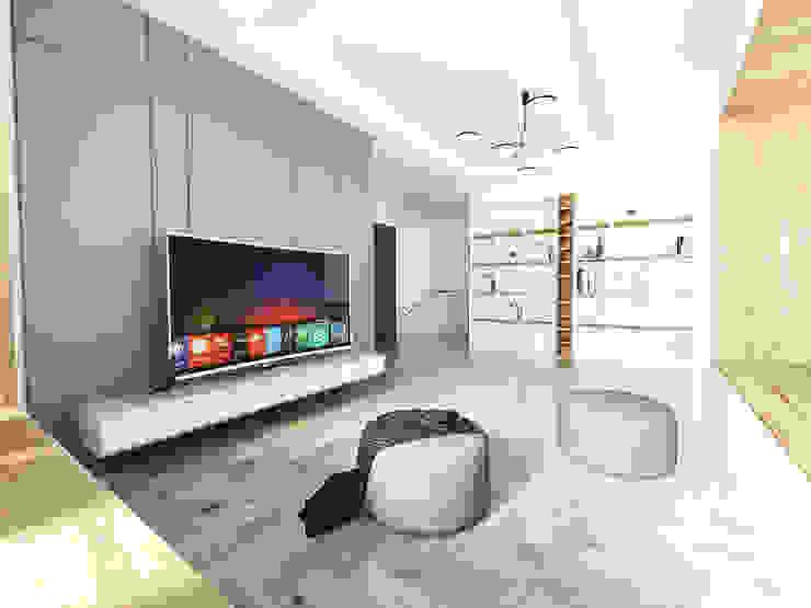 노후된 주택 리모델링 디자인-2층 거실 인테리어 디자인 모던스타일 거실 by 디자인 이업 모던 솔리드 우드 멀티 컬러