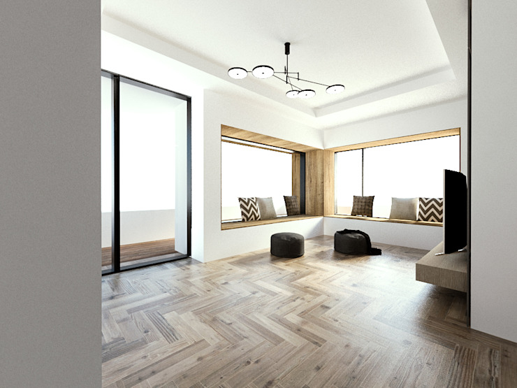 노후된 주택 리모델링 디자인-2층 거실인테리어 디자인 모던스타일 거실 by 디자인 이업 모던 우드 + 플라스틱