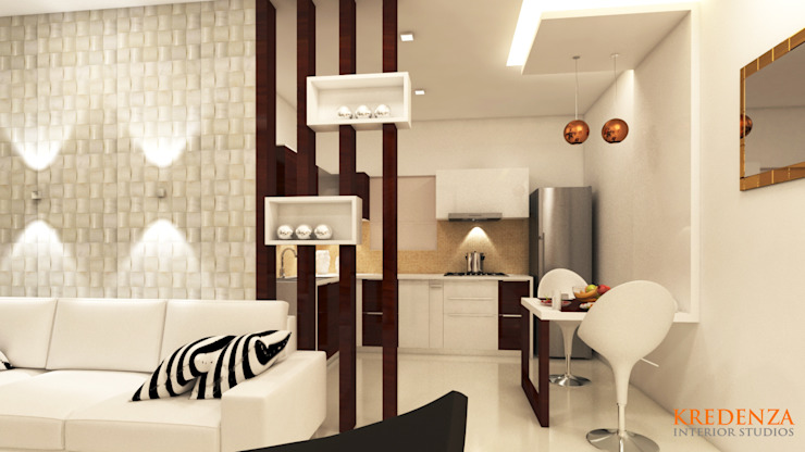 MODERN DINING DESIGNS FOR SHRI SAI SRUSHTI APARTMENT Kredenza Interior Studios Modern dining room