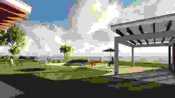 Area Social Jardines de estilo mediterráneo de Atelier Arquitectura Mediterráneo