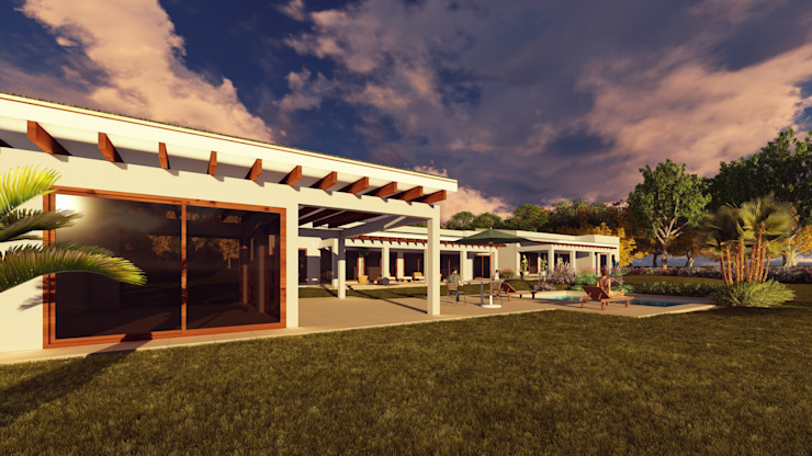 Area Social Balcones y terrazas mediterráneos de Atelier Arquitectura Mediterráneo