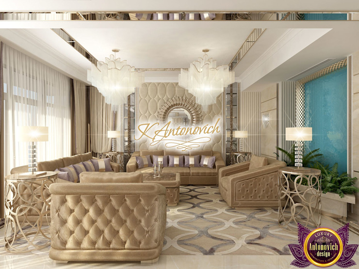 Stylish interior design by Katrina Antonovich Modern living room by Luxury Antonovich Design Modern