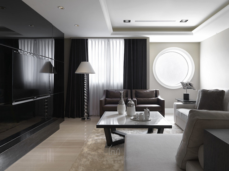 彰化T宅 现代客厅設計點子、靈感 & 圖片 根據 Ho.space design 和薪室內裝修設計有限公司 現代風