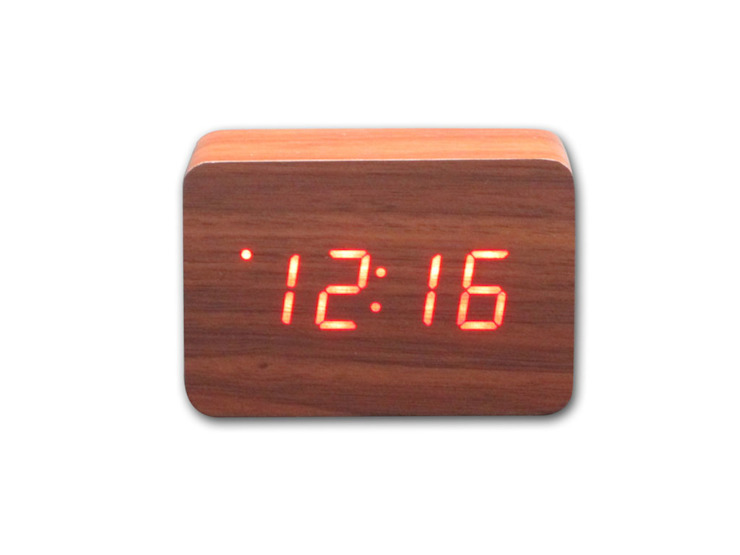 Kairos Wood LED Rectangle Alarm Clock: modern  by Just For Clocks,Modern Wood Wood effect