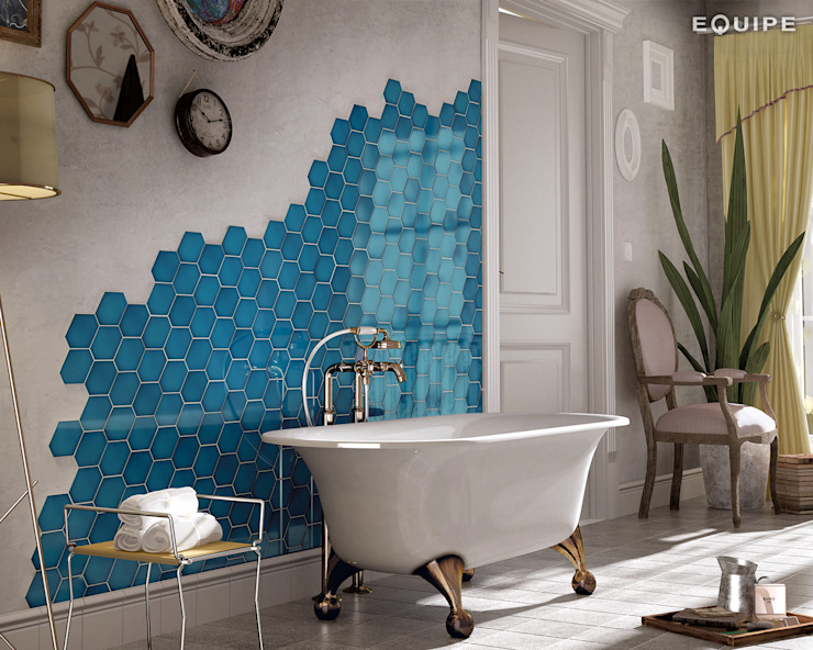 Scale Benzene Baños de estilo mediterráneo de Equipe Ceramicas Mediterráneo Cerámico