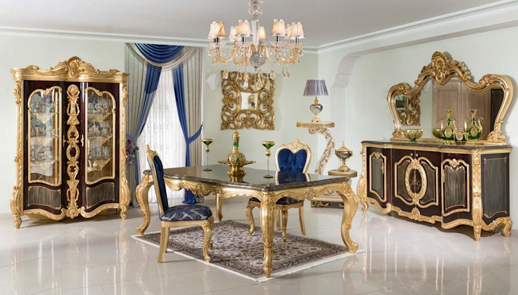 LUXURY LINE FURNITURE Dining roomTables Perak/Emas Amber/Gold