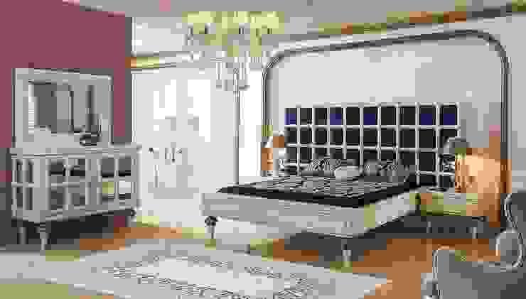 LUXURY LINE FURNITURE SchlafzimmerBetten und Kopfteile Holz Blau