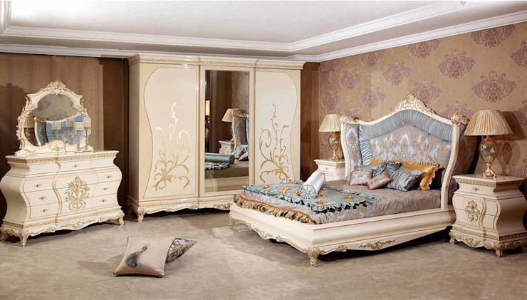 LUXURY LINE FURNITURE SchlafzimmerBetten und Kopfteile Holz Beige