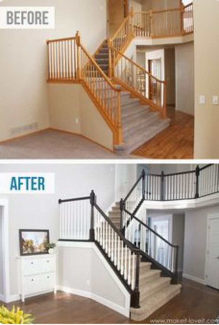 Before & After Staircase Modern Corridor, Hallway and Staircase by Nozipho Construction Modern