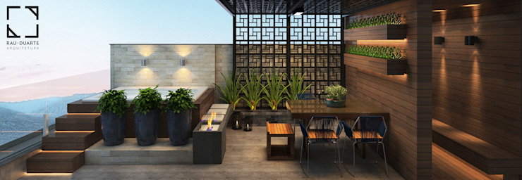 Terraço Varandas, alpendres e terraços modernos por Rau Duarte Arquitetura Moderno Pedra