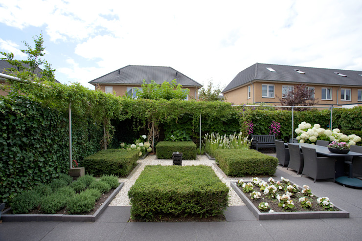 Moderne, onderhoudsvriendelijk, maar toch een groene tuin van Dutch Quality Gardens, Mocking Hoveniers