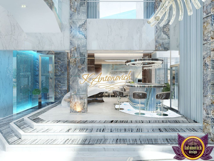 ​Luxury modern house design of Katrina Antonovich Modern Corridor, Hallway and Staircase by Luxury Antonovich Design Modern